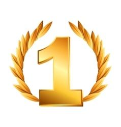 wreath gold award icon vector image
