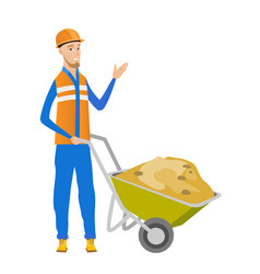 young caucasian builder giving thumb up vector image vector image