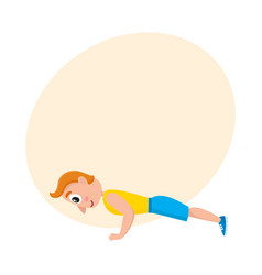 young man doing push ups sport exercises vector image