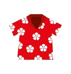 shirt hawaiian flowers red vector image
