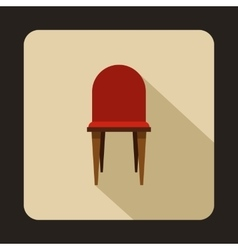 Red wooden chair icon flat style vector