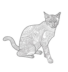Line art of cat for coloring on white background vector