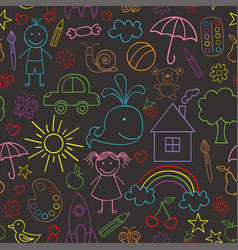 Seamless pattern with child drawings black vector