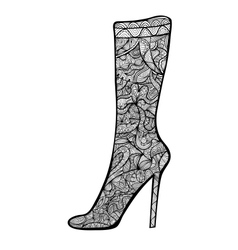 Black and white high-heeled woman boot vector