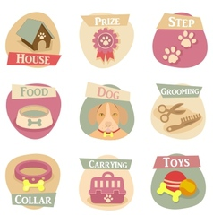 Dog life flat icons vector