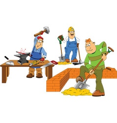 Cartoon builders vector