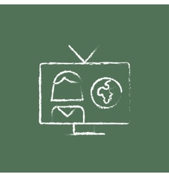 Tv report icon drawn in chalk vector