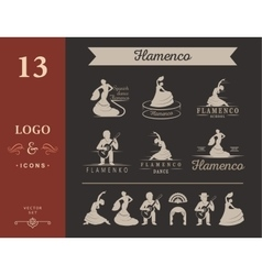 Set of logos and badges flamenco vector
