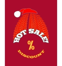 Christmas hot sale poster on red background vector