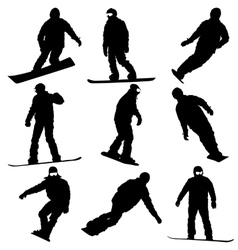 Black silhouettes set snowboarders on white vector