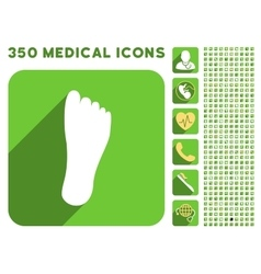 Foot sole icon and medical longshadow icon set vector