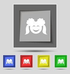 Smiling girl icon sign on original five colored vector