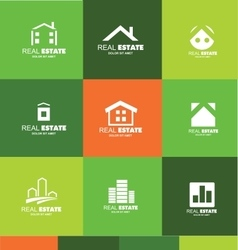 Real estate logo flat set icon design vector
