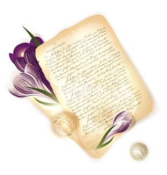 old letter with crocus vector image