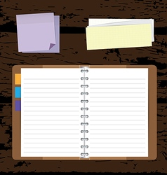Notebooks background with post it and notepad vector