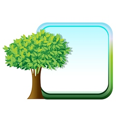 A big green tree beside an empty template vector image