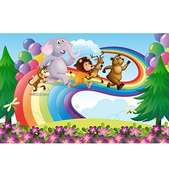A group of animals at the rainbow vector image