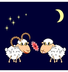 A ram presenting a sheep a flower vector