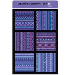 Abstract strip pattern set violet colors vector