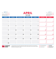 april 2018 calendar planner design template week vector image