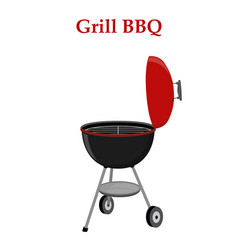 barbecue set - grill station opened cap vector image