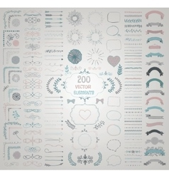 Big Set of Decorative Hand Drawn Design vector image vector image