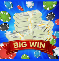 big winner poster you win gambling poker vector image