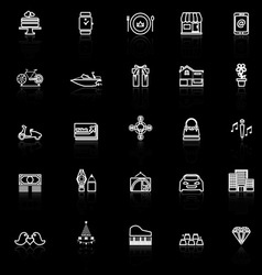 Birthday gift line icons with reflect on black vector