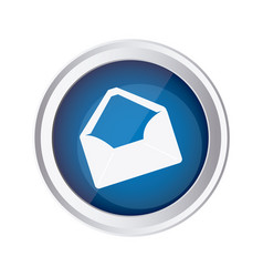 Blue emblem open message envelope icon vector