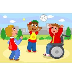 Boys palying with ball vector image vector image