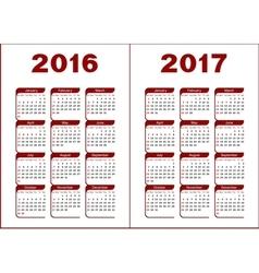 Calendar 2016 2017 vector image vector image
