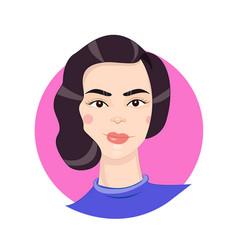 cartoon girl portrait in vector image vector image
