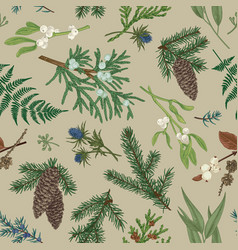 christmas seamless botanical pattern vector image vector image
