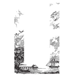 Coast with a pier sailboat and some seagulls vector