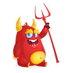 Cute devil monster cartoon vector