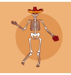 Dancing skeleton in sombrero with flower vector
