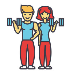 happy couple in fitness gym fit man and woman vector image vector image