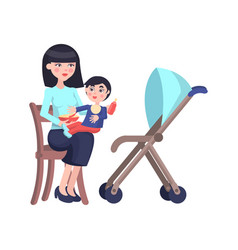 happy mother feeds little son flat vector image