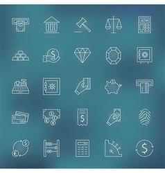 Money finance banking line icons set vector