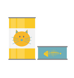 Pet food can template in modern flat style icon vector