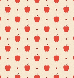 Retro seamless pattern Red apples and dots vector image