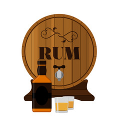 Rum wooden barrel with bottle and shots in flat vector