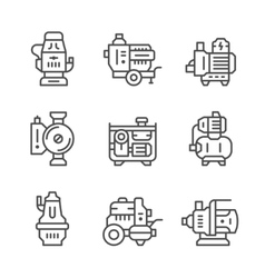 Set line icons of water pump vector