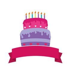 Sweet cake celebration icon vector