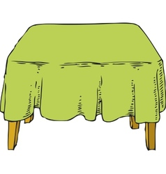 Table with Green Tablecloth vector image vector image