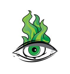 The all seeing eye - green firey flame illuminati vector