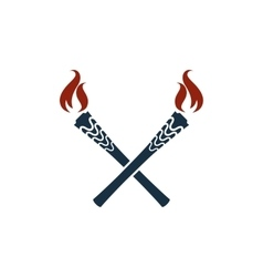 Torch icon isolated olympic fire flambeau vector