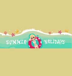 Woman lying on summer beach vacation seaside sand vector