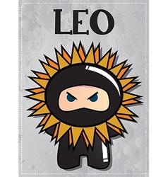 Zodiac sign Leo with cute black ninja character vector image