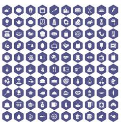 100 cooking icons hexagon purple vector